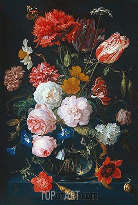 Still Life with Flowers in a Glass Vase, 1683 | de Heem | Painting Reproduction