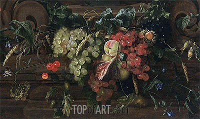 Still Life with White and Blue Grapes, 1653   de Heem   Painting Reproduction