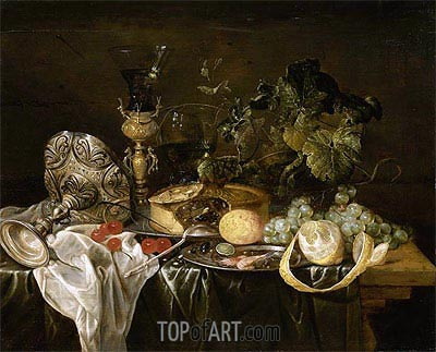 Still Life with Fruit, Pie and Drinking Utensils, Undated | de Heem | Painting Reproduction