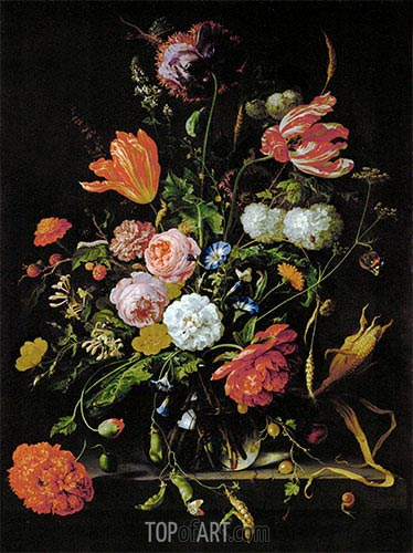 Still Life with Flowers, c.1650/60 | de Heem | Painting Reproduction
