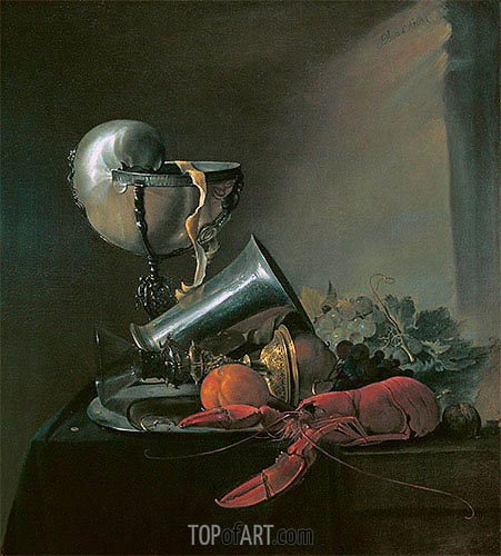 Still Life with Nautilus Cup and Lobster, 1634 | de Heem | Painting Reproduction