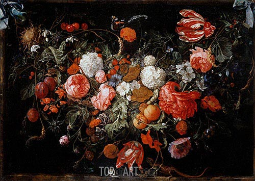 Still Life with Garland of Fruit and Flowers, c.1669 | de Heem | Gemälde Reproduktion