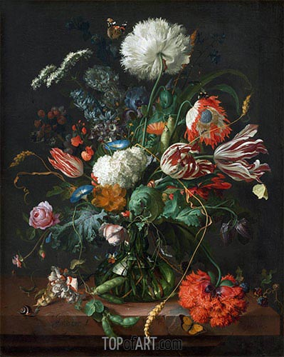 Vase of Flowers, c.1660 | de Heem | Gemälde Reproduktion