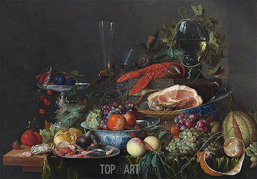 Still Life with Ham, Lobster and Fruit, c.1653 | de Heem | Gemälde Reproduktion