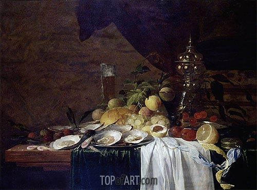Still Life with Fruit and Oysters, 1643 | de Heem | Gemälde Reproduktion