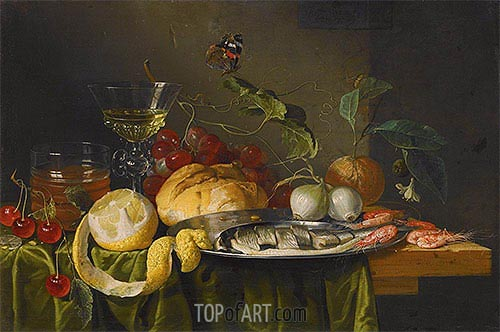 Still Life with Glass of Wine and Herring, 1653 | de Heem | Gemälde Reproduktion