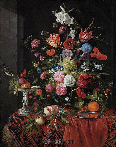 Flowers in a Glass Vase with Birds, undated | de Heem | Gemälde Reproduktion