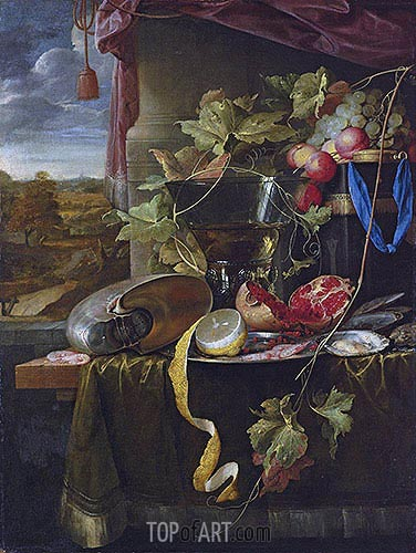 Still Life with Shell, Peeled Lemon and Pomegranate, undated | de Heem | Gemälde Reproduktion