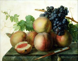 Still Life with Peaches and Grapes on Marble | van Dael | Painting Reproduction