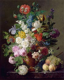 Vase of Flowers, Grapes and Peaches, 1810 by van Dael | Painting Reproduction