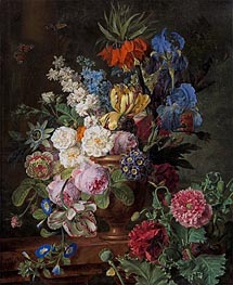 Flowers in Urn on a Stone Ledge | van Dael | Painting Reproduction