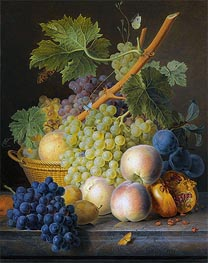 Still Life with Basket of Grapes and Peaches | van Dael | Gemälde Reproduktion