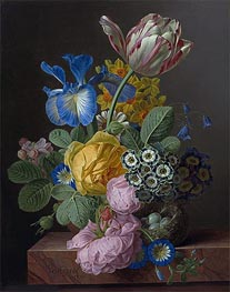 A Vase of Flowers with a Bird's Nest on a Marble Ledge | van Dael | Gemälde Reproduktion