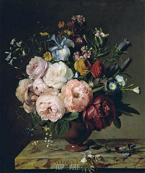 A Vase of Flowers on a Ledge, 1817 | van Dael | Painting Reproduction