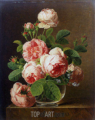 Still Life of Roses in a Glass Vase, undated | van Dael | Painting Reproduction
