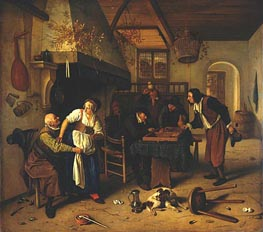 Interior of Inn with Old Man, Landlady and Two Men | Jan Steen | Painting Reproduction