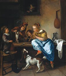 Children Teaching a Cat to Dance (Dancing Lesson) | Jan Steen | Painting Reproduction