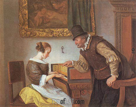 The Harpsichord Lesson, c.1660 | Jan Steen | Painting Reproduction