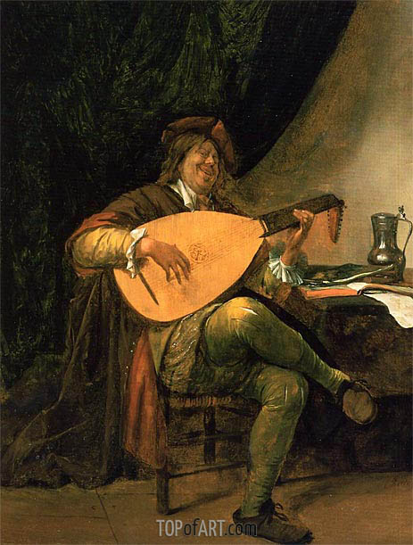 Self-Portrait with Lute, c.1663/65 | Jan Steen | Painting Reproduction