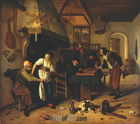 Interior of Inn with Old Man, Landlady and Two Men, c.1636/79 | Jan Steen | Painting Reproduction