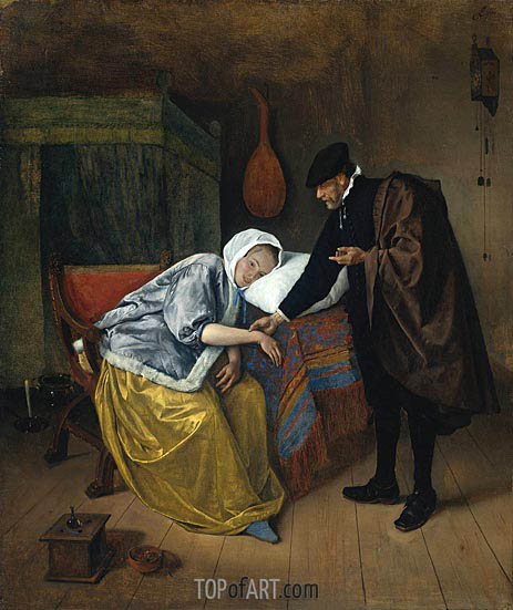 The Sick Woman, c.1665 | Jan Steen | Painting Reproduction