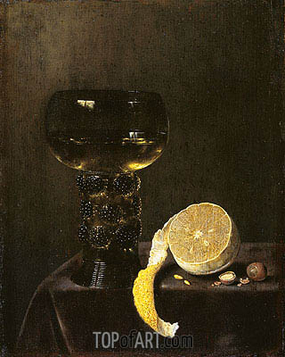 Wine Glass and Cut Lemon, 1649 | Jan Jansz van de Velde III | Painting Reproduction
