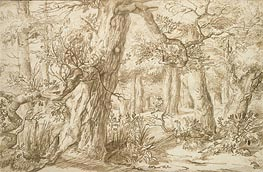 Forest Interior with Draftsman | Jan Lievens | Painting Reproduction