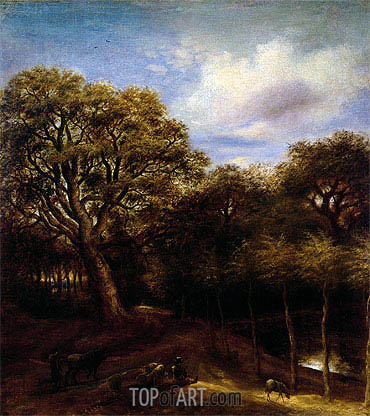 Wooded Landscape with Figures, Sheep and Oxen, undated | Jan Lievens | Painting Reproduction