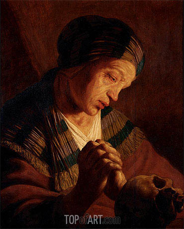St. Mary Magdalene at Prayer, undated | Jan Lievens | Painting Reproduction