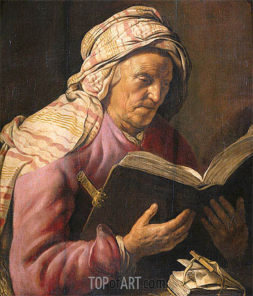 Old Woman Reading, c.1626/33 | Jan Lievens | Gemälde Reproduktion