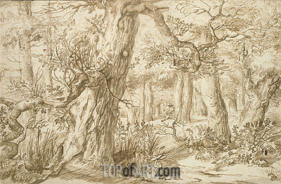 Forest Interior with Draftsman, c.1664 | Jan Lievens | Painting Reproduction