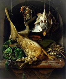 Still Life with a Dead Hare, Partridges and Other Birds in a Niche, c.1675 von Jan Weenix | Gemälde-Reproduktion