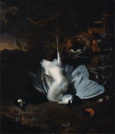 Dead Birds and Hunting Equipment in a Landscape, undated von Jan Weenix | Gemälde-Reproduktion