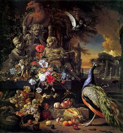 Flowers on a Fountain with a Peacock | Jan Weenix | Painting Reproduction