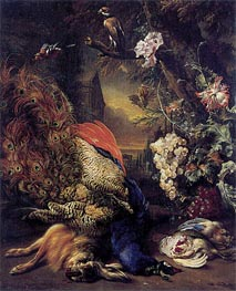 Dead Peacock and Game, 1707 by Jan Weenix | Painting Reproduction