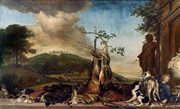 Hunting Still Life Before a Scenery with Castle Mountain Bens | Jan Weenix | Gemälde Reproduktion