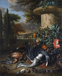 Falconer's Bag (Gamepiece with a Dead Heron), 1695 by Jan Weenix | Painting Reproduction