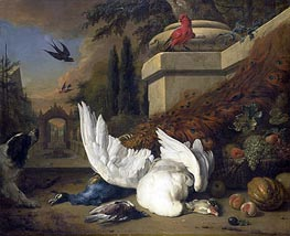 A Dog at a Dead Goose and a Peacock | Jan Weenix | Gemälde Reproduktion