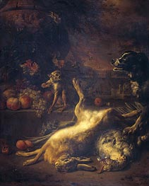 A Monkey and a Dog at Dead Game and Fruit | Jan Weenix | Gemälde Reproduktion