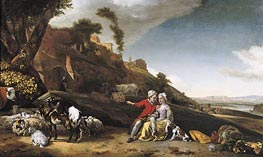 A Young Couple with Goats and Sheep in an Italianate Landscape, 1662 von Jan Weenix | Gemälde-Reproduktion