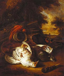A Partridge and a Pigeon with Instruments of the Chase | Jan Weenix | Painting Reproduction