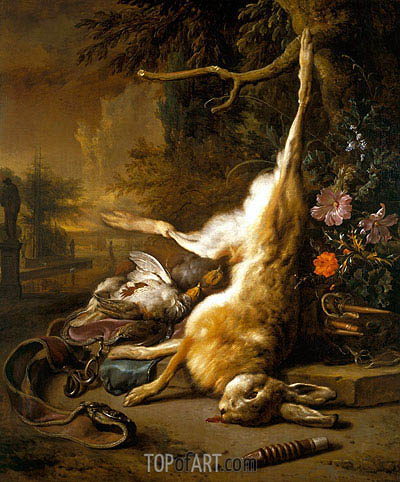 Dead Hare with Partridges with Instruments of the Chase, 1704 | Jan Weenix | Gemälde Reproduktion