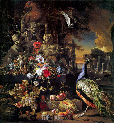 Flowers on a Fountain with a Peacock, c.1700/10 | Jan Weenix | Painting Reproduction