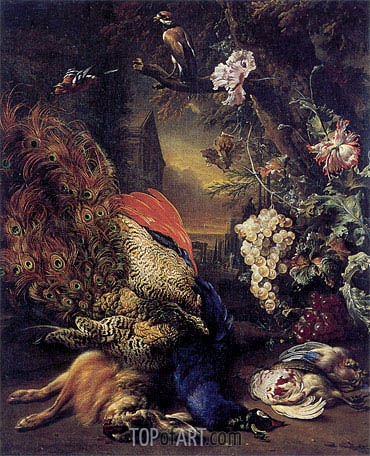Dead Peacock and Game, 1707 | Jan Weenix | Painting Reproduction