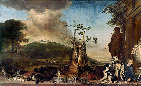 Hunting Still Life Before a Scenery with Castle Mountain Bens, 1712 | Jan Weenix | Gemälde Reproduktion