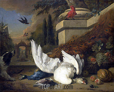A Dog at a Dead Goose and a Peacock, c.1660/19 | Jan Weenix | Painting Reproduction
