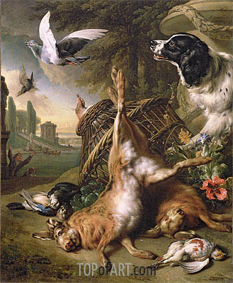 Still Life with Dead Game and Hares, Undated   Jan Weenix   Painting Reproduction