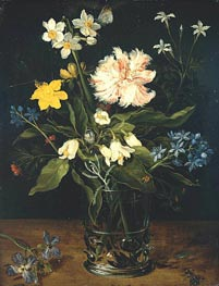Still Life with Flowers in a Glass, c.1578/25 by Jan Bruegel the Elder | Painting Reproduction