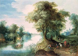 River Landscape | Jan Bruegel the Elder | Gemälde Reproduktion
