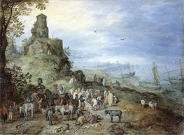 Coastal Landscape with the Calling of St. Peter and Andrew | Jan Bruegel the Elder | Painting Reproduction
